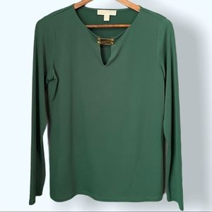 MICHAEL KORS Forest Green Blouse w Gold Buckle,